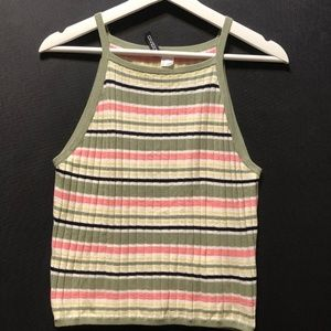 Divided Striped Ribbed Tank Top Women's Size L